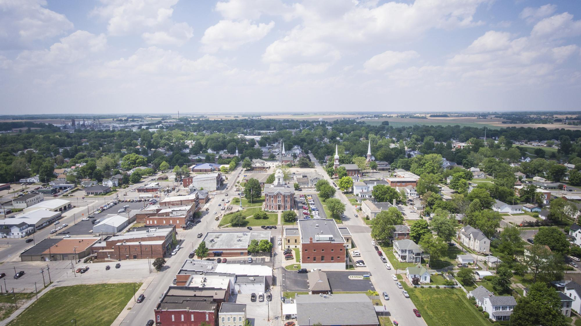 Mt Vernon Indiana - Downtown Aerial