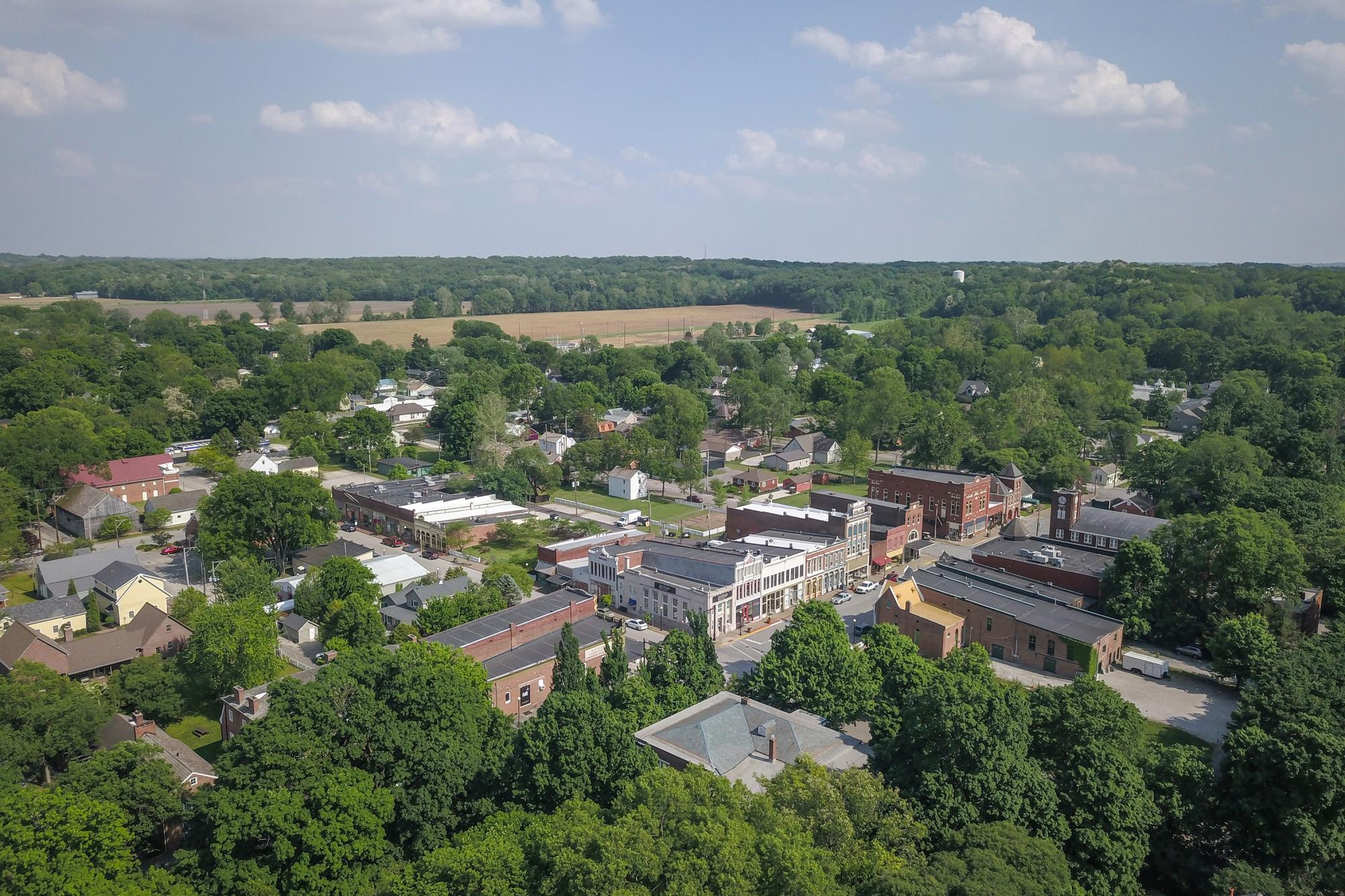 New Harmony Indiana - Downtown Aerial