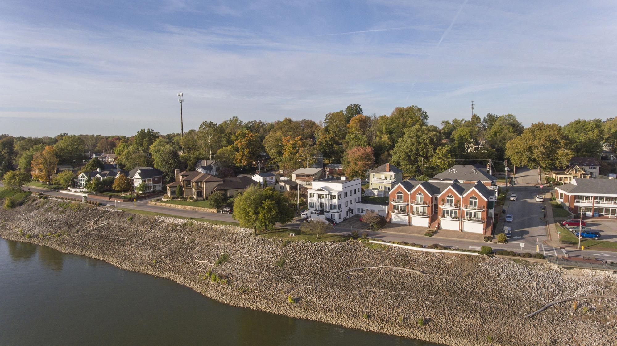 Newburgh Indiana - Downtown Aerial Riverfront